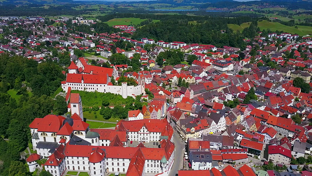 Aerial view of the Monastery of St Mang and High Castle (Hohes Schloss) in F?ssen (Fuessen) am Lech, Allgaeu, Swabia, Bavaria, Germany - 396-8382