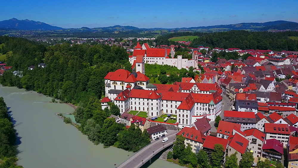Aerial view of the Monastery of St Mang and High Castle (Hohes Schloss) in F?ssen (Fuessen) am Lech, Allgaeu, Swabia, Bavaria, Germany - 396-8383