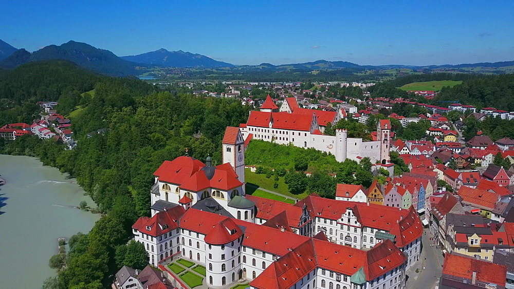 Aerial view of the Monastery of St Mang and High Castle (Hohes Schloss) in F?ssen (Fuessen) am Lech, Allgaeu, Swabia, Bavaria, Germany - 396-8384