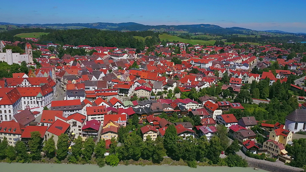 Aerial view of the Monastery of St Mang and High Castle (Hohes Schloss) in F?ssen (Fuessen) am Lech, Allgaeu, Swabia, Bavaria, Germany - 396-8385