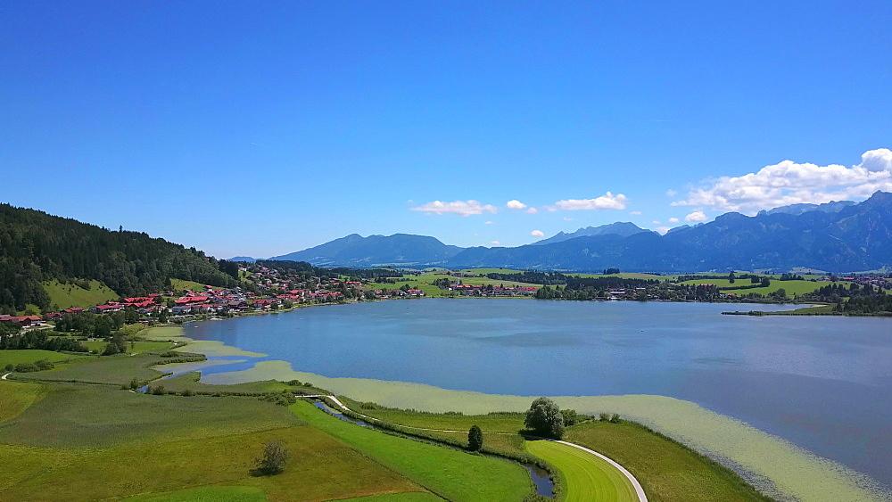 Aerial view of Lake Hopfensee and Hopfen am See near F?ssen, Allgaeu, Swabia, Bavaria, Germany - 396-8389