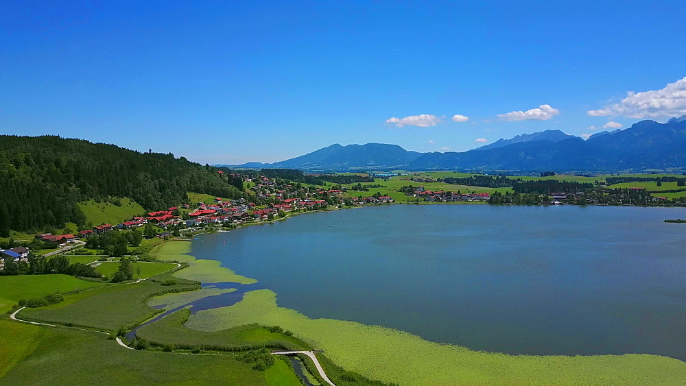 Aerial view of Lake Hopfensee and Hopfen am See near F?ssen, Allgaeu, Swabia, Bavaria, Germany - 396-8390