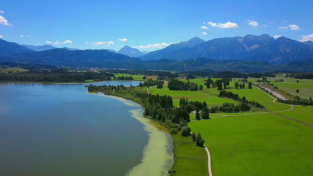 Aerial view of Lake Hopfensee and Hopfen am See near F?ssen, Allgaeu, Swabia, Bavaria, Germany - 396-8391