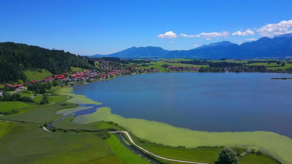 Aerial view of Lake Hopfensee and Hopfen am See near F?ssen, Allgaeu, Swabia, Bavaria, Germany - 396-8392