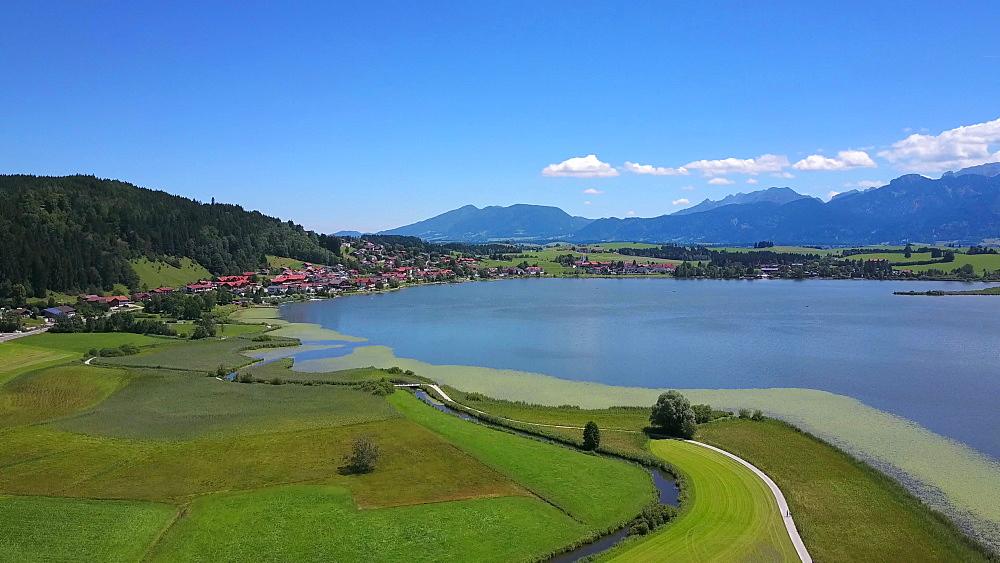 Aerial view of Lake Hopfensee and Hopfen am See near F?ssen, Allgaeu, Swabia, Bavaria, Germany - 396-8393