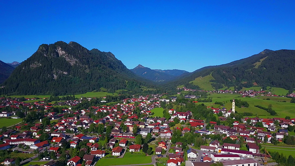 Aerial view of the town of Pfronten, Allgaeu Alps, Allgaeu, Swabia, Bavaria, Germany - 396-8395