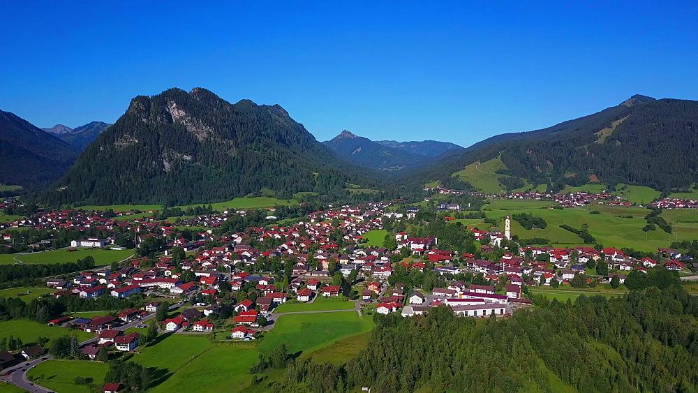 Aerial view of the town of Pfronten, Allgaeu Alps, Allgaeu, Swabia, Bavaria, Germany - 396-8396