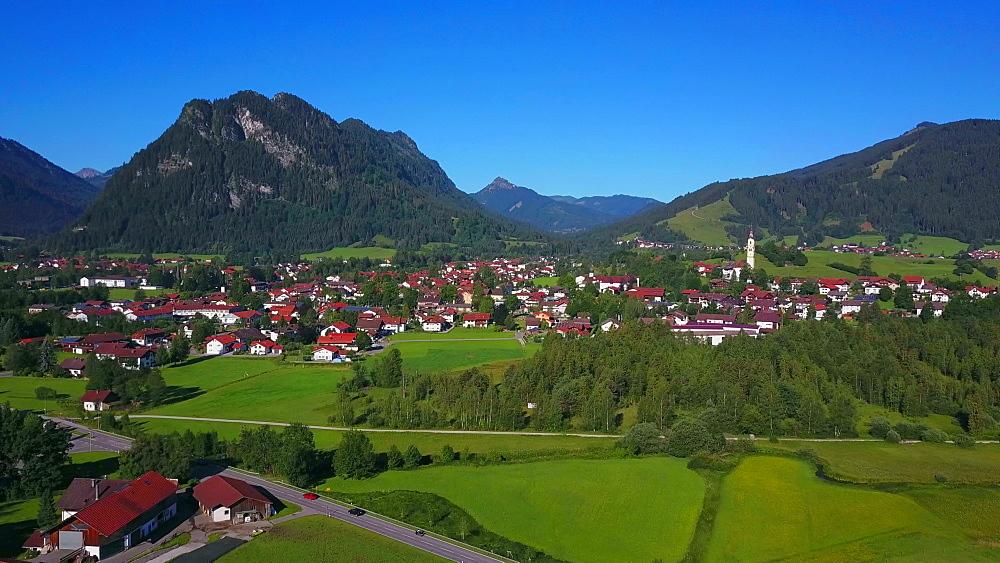Aerial view of the town of Pfronten, Allgaeu Alps, Allgaeu, Swabia, Bavaria, Germany - 396-8397