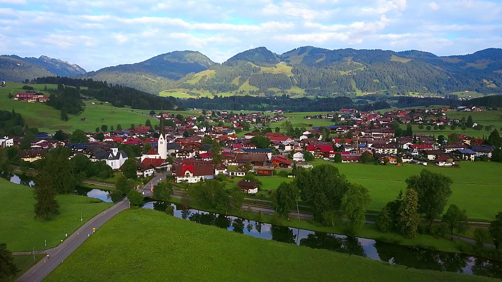 Aerial view of the town of Fischen near Oberstdorf, Allgaeu Alps, Allgaeu, Swabia, Bavaria, Germany - 396-8404