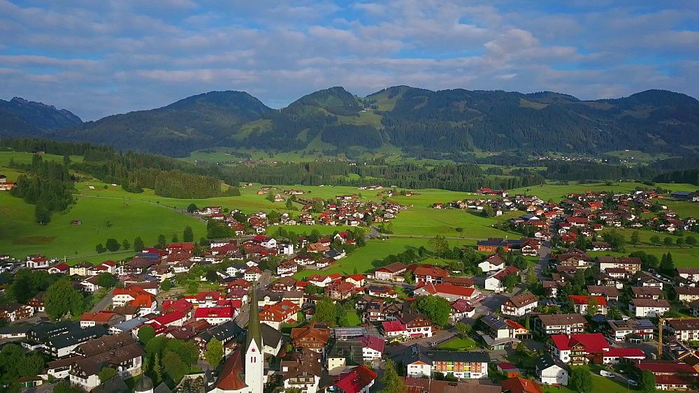 Aerial view of the town of Fischen near Oberstdorf, Allgaeu Alps, Allgaeu, Swabia, Bavaria, Germany - 396-8406