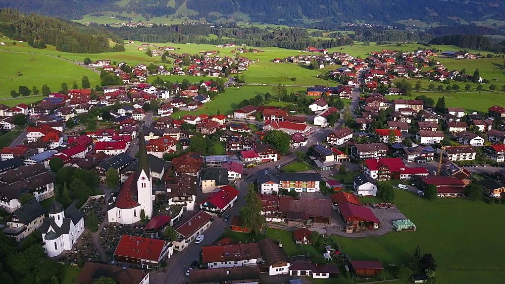 Aerial view of the town of Fischen near Oberstdorf, Allgaeu Alps, Allgaeu, Swabia, Bavaria, Germany - 396-8408