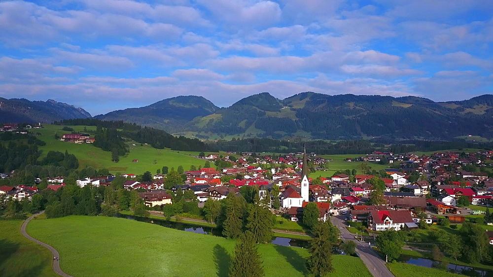 Aerial view of the town of Fischen near Oberstdorf, Allgaeu Alps, Allgaeu, Swabia, Bavaria, Germany - 396-8409