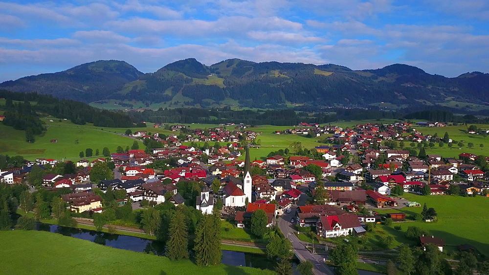 Aerial view of the town of Fischen near Oberstdorf, Allgaeu Alps, Allgaeu, Swabia, Bavaria, Germany - 396-8410