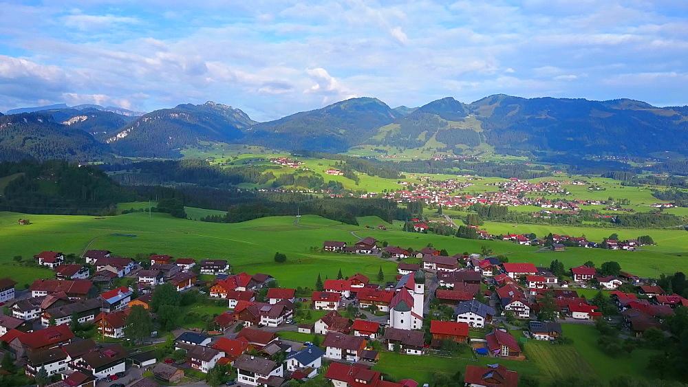 Aerial view of the town of Schoellang near Oberstdorf, Allgaeu Alps, Allgaeu, Swabia, Bavaria, Germany - 396-8412