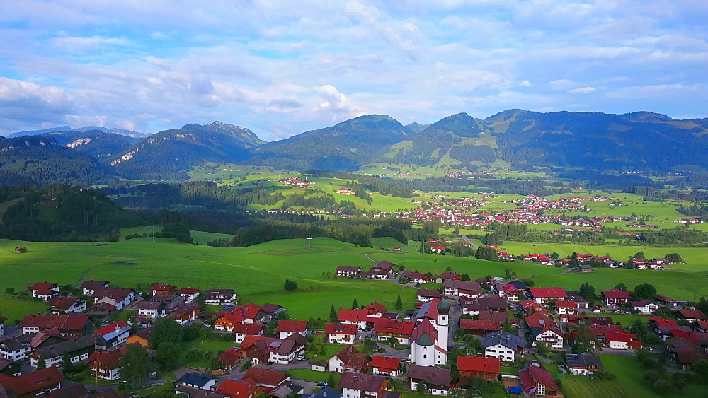 Aerial view of the town of Schoellang near Oberstdorf, Allgaeu Alps, Allgaeu, Swabia, Bavaria, Germany - 396-8413