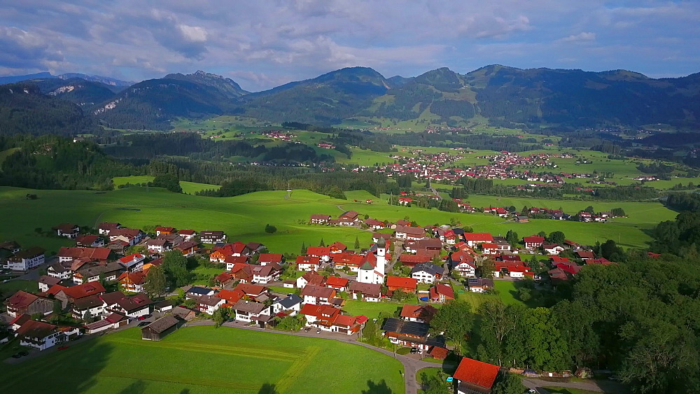Aerial view of the town of Schoellang near Oberstdorf, Allgaeu Alps, Allgaeu, Swabia, Bavaria, Germany - 396-8414