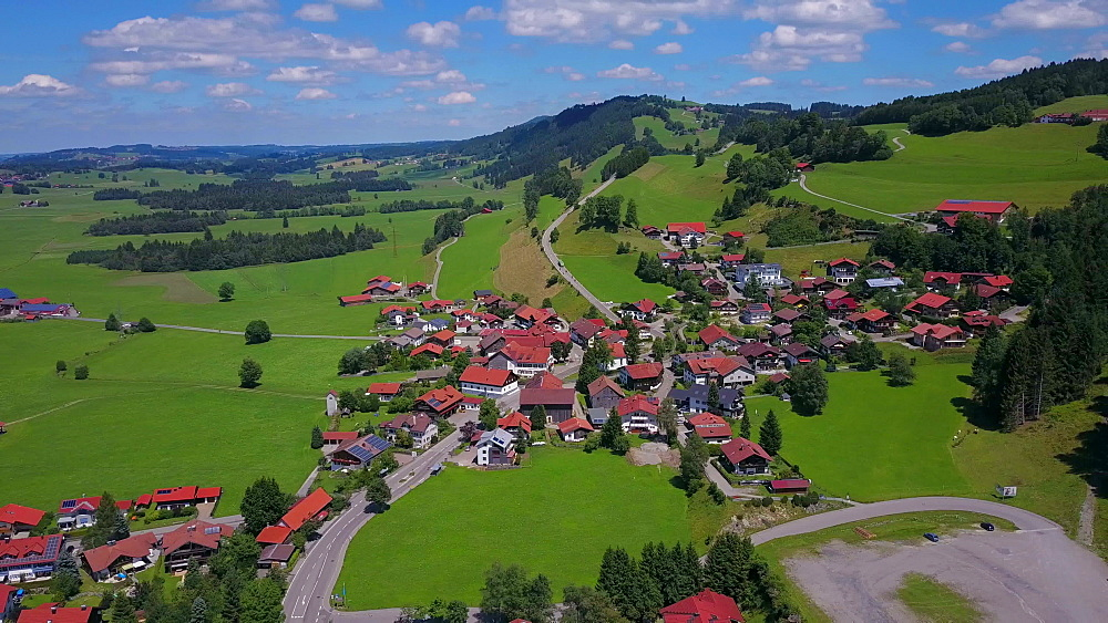 Aerial view of Kranzegg near Rettenberg, Allgaeu Alps, Allgaeu, Swabia, Bavaria, Germany - 396-8431