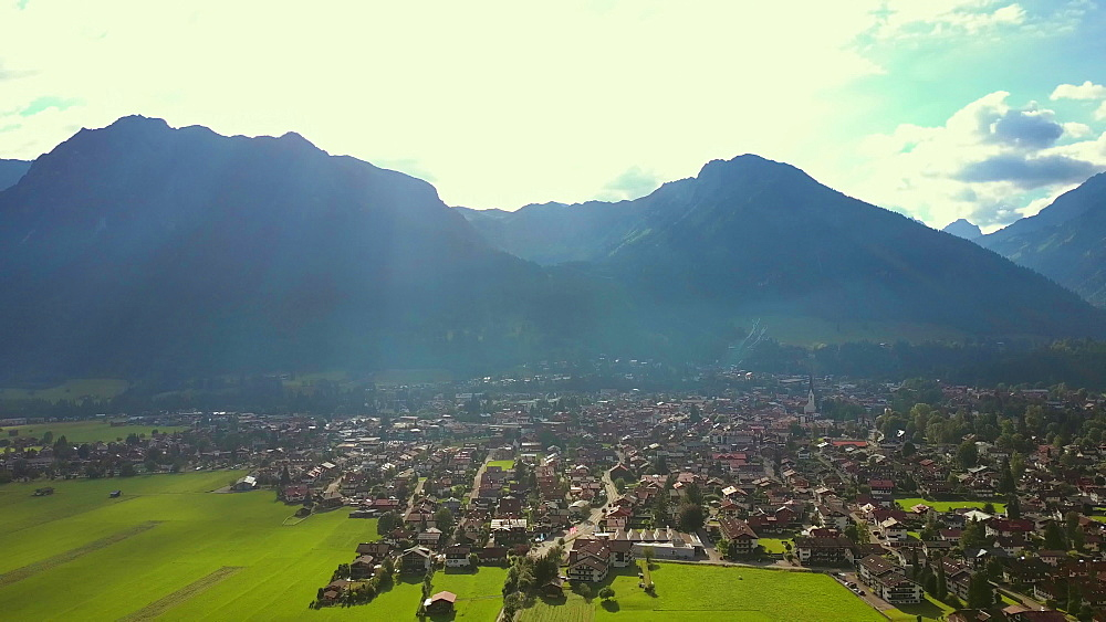 Aerial view of Oberstdorf and the Allgaeu Alps, Allgaeu, Swabia, Bavaria, Germany - 396-8435