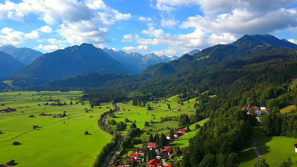 Aerial view of the Stillach Valley near Oberstdorf and the Allgaeu Alps, Allgaeu, Swabia, Bavaria, Germany - 396-8438