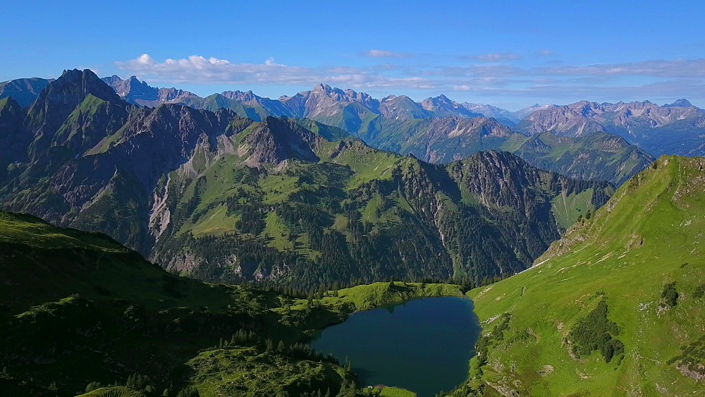 Aerial view of Lake Seealpsee at Nebelhorn and the Allgaeu Alps near Oberstdorf, Allgaeu, Swabia, Bavaria, Germany - 396-8463