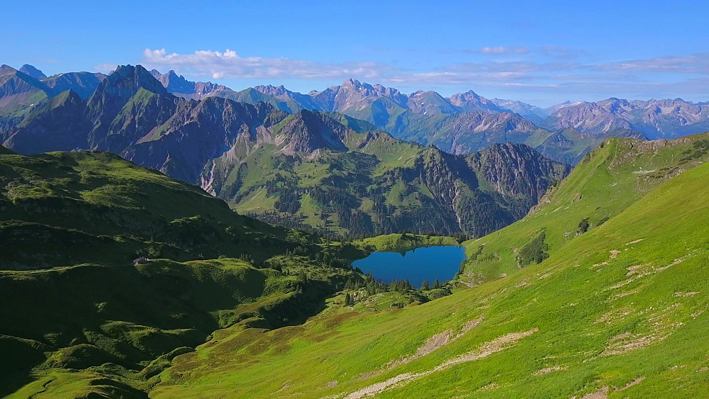 Aerial view of Lake Seealpsee at Nebelhorn and the Allgaeu Alps near Oberstdorf, Allgaeu, Swabia, Bavaria, Germany - 396-8468