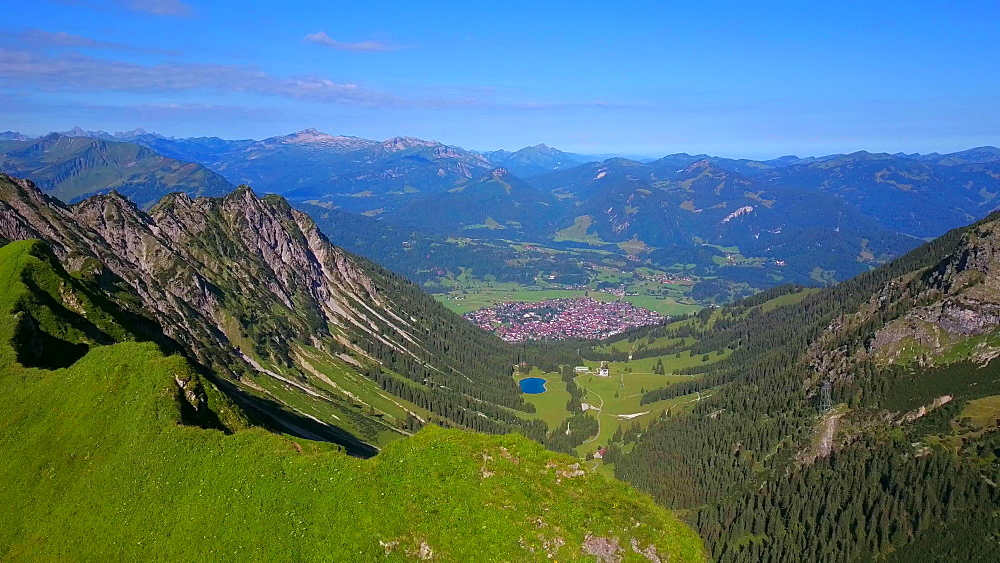 Aerial view of Seealpe at Nebelhorn and Oberstdorf, Allgaeu Alps, Swabia, Bavaria, Germany - 396-8473