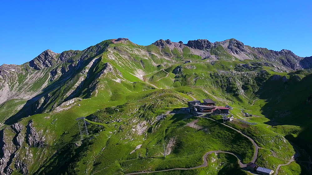 Aerial view of Nebelhorn with station H?fatsblick near Oberstdorf, Allgaeu Alps, Swabia, Bavaria, Germany - 396-8474