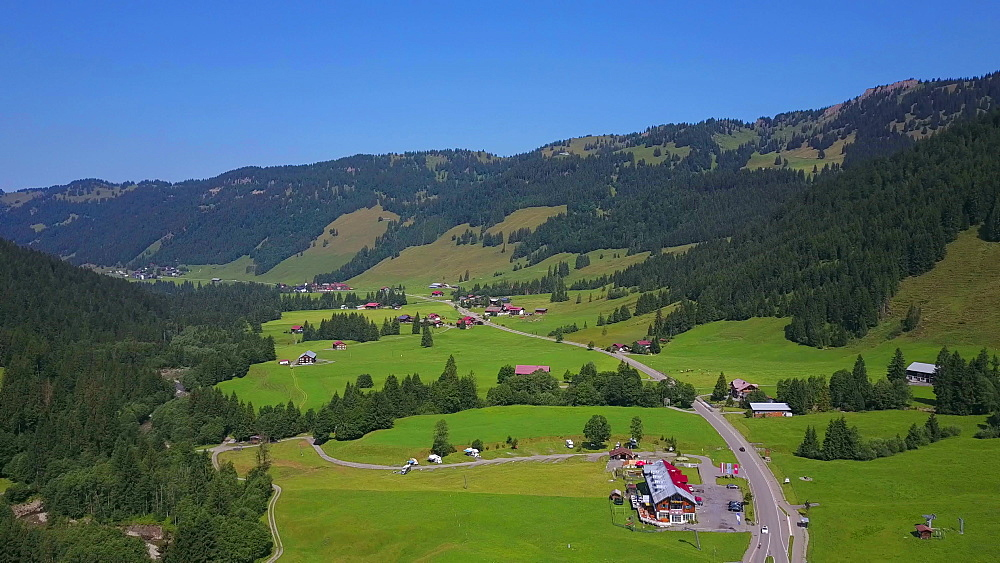 Aerial view of the town of Balderschwang, Allgaeu Alps, Swabia, Bavaria, Germany - 396-8486