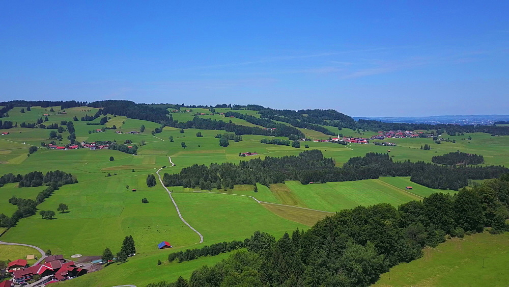Aerial view of landscape and farms in the high mountain valley near Kranzegg, Allgau Alps, Swabia, Bavaria, Germany, Europe