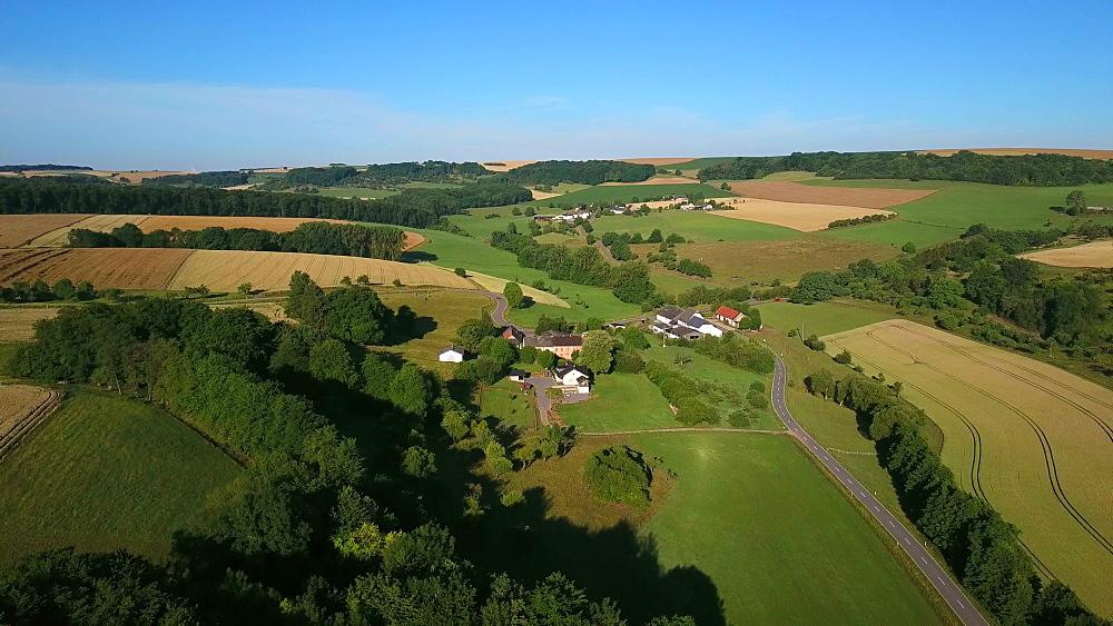 Aerial view of farms at Rehlingerhof near Fisch, Saargau, Rhineland-Palatinate, Germany, Europe
