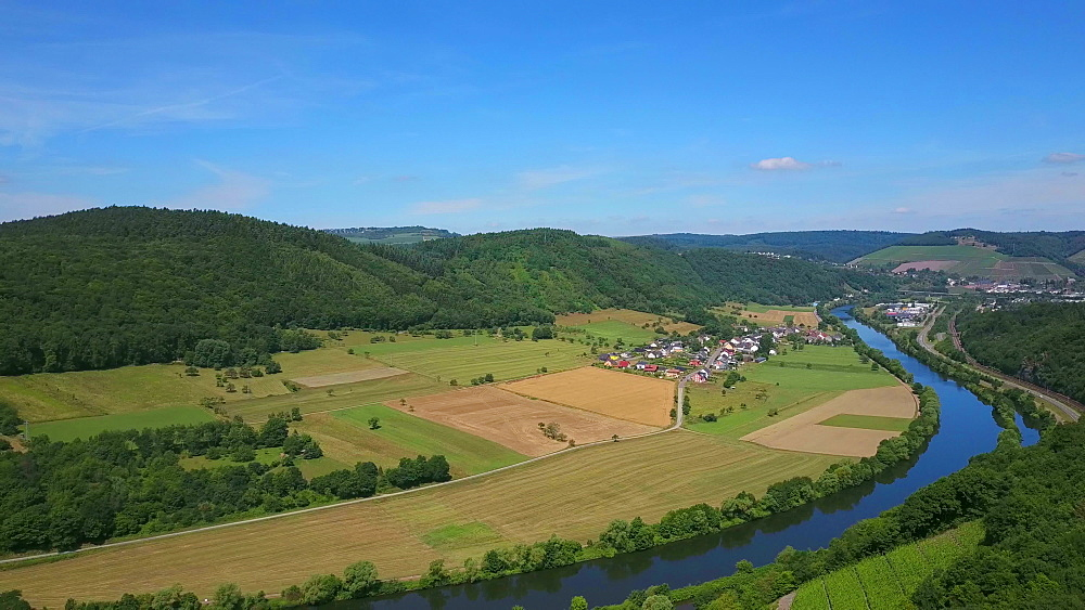 Aerial view of the vineyard estate Saarstein near Serrig, Saar River, Saar Valley near Saarburg, Rhineland-Palatinate, Germany - 396-8575
