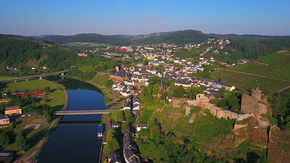 Aerial view of Saar River and castle ruin, Saarburg, Saar Valley, Rhineland-Palatinate, Germany - 396-8582