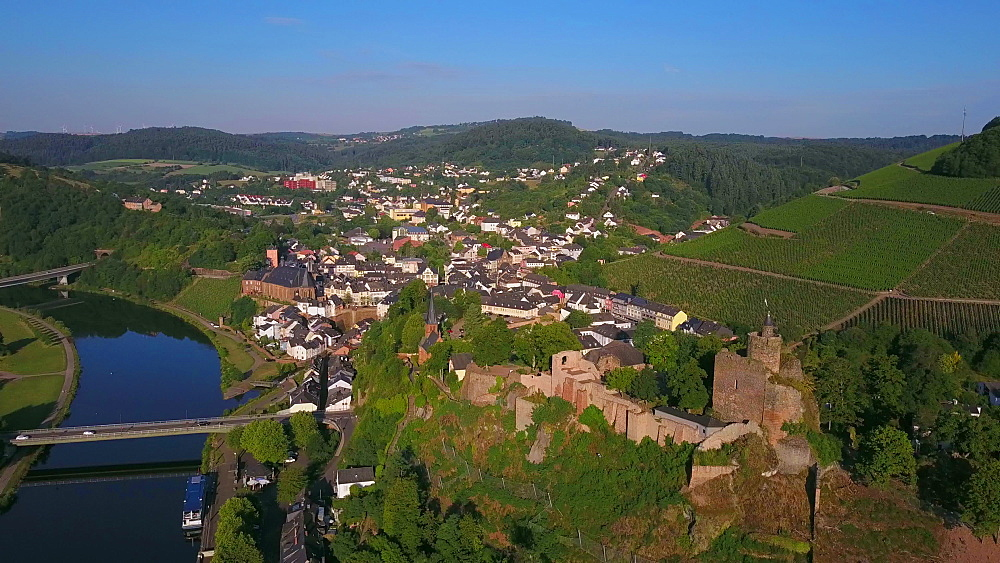 Aerial view of Saar River and castle ruin, Saarburg, Saar Valley, Rhineland-Palatinate, Germany - 396-8584