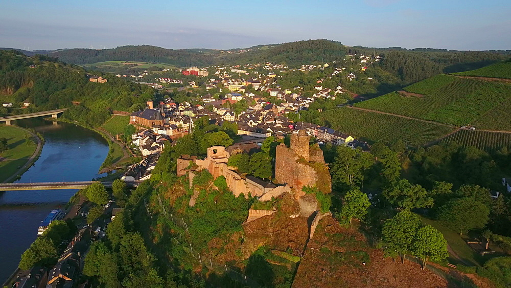 Aerial view of Saar River and castle ruin, Saarburg, Saar Valley, Rhineland-Palatinate, Germany - 396-8594