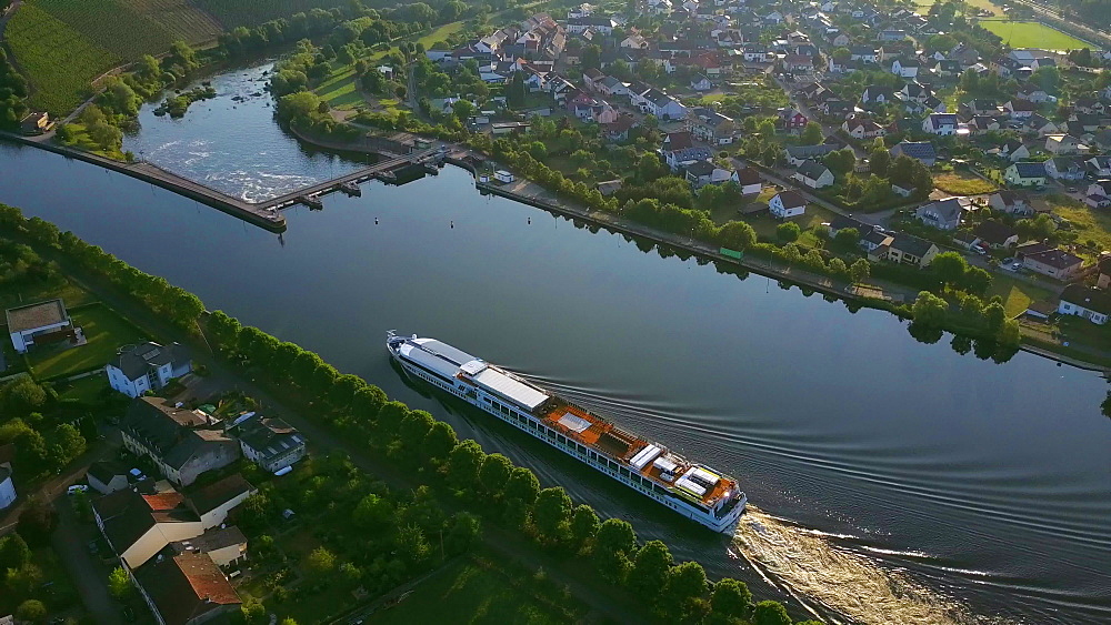 Aerial view of a cruise ship on Saar River near Schoden, Saar Valley near Saarburg, Rhineland-Palatinate, Germany - 396-8599