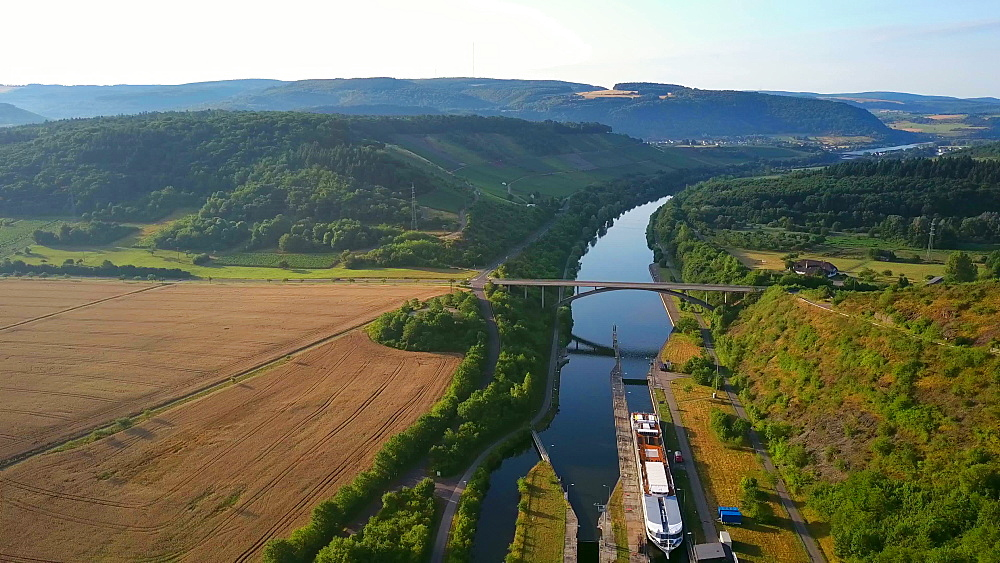 Aerial view of a cruise ship in log, Saar River near Kanzem-Hamm, Saar Valley, Rhineland-Palatinate, Germany - 396-8608