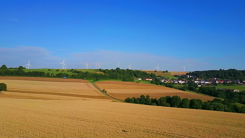 Aerial view of farmland and wind turbines near the town of Meurich, Saargau, Rhineland-Palatinate, Germany - 396-8615