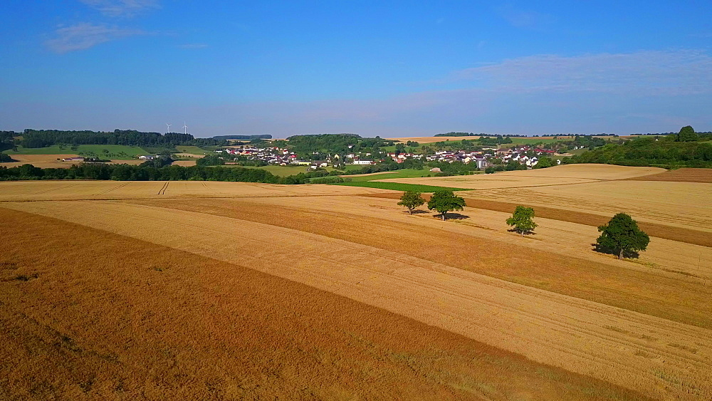 Aerial view of farmland near the town of Kirf, Saargau, Rhineland-Palatinate, Germany