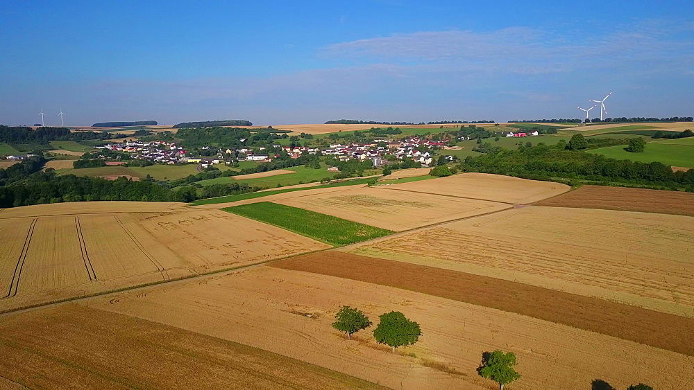 Aerial view of farmland and wind turbines near the town of Kirf, Saargau, Rhineland-Palatinate, Germany - 396-8624