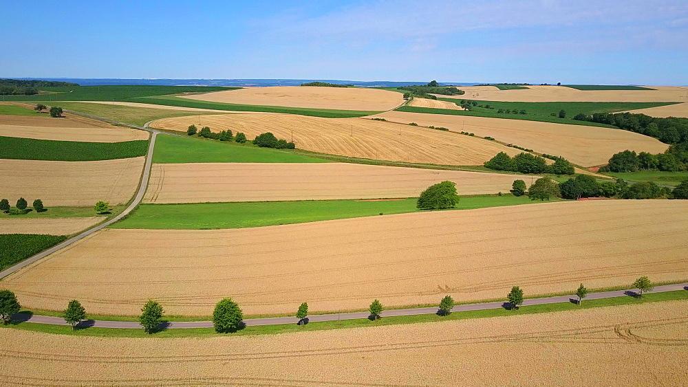 Aerial view of farmland near the town of Koerrig, Saargau, Rhineland-Palatinate, Germany
