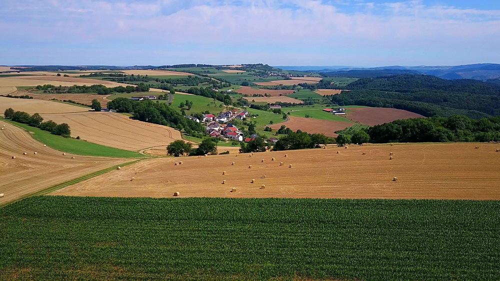 Aerial view of farmland near the town of Portz, Saargau, Rhineland-Palatinate, Germany