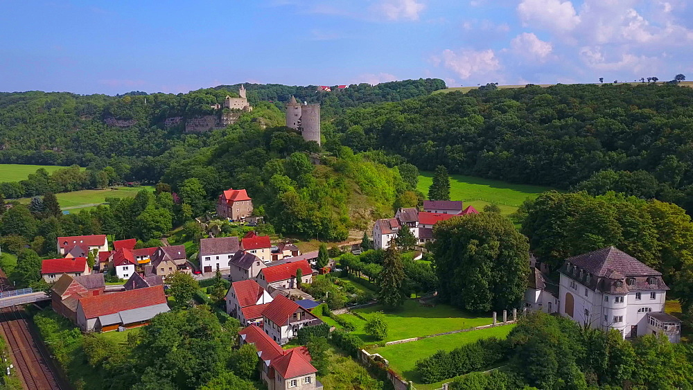 Aerial view of River Saale with Rudelsburg and Saaleck Castle, Bad K?sen-Saaleck, Saxony-Anhalt, Germany - 396-8695