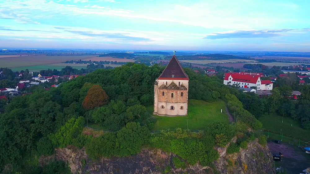 Aerial view of double chapel St. Cruis in Landsberg, Saalekreis, near Haale, Saxony-Anhalt, Germany - 396-8720
