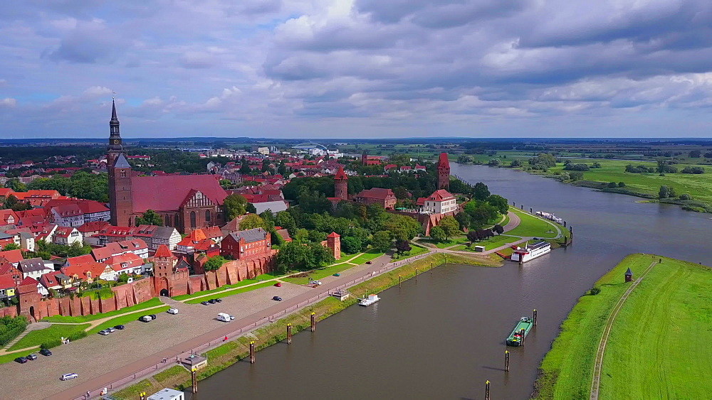 Aerial view of the old town of Tangermnde with church St. Stephen and castle, Elbe River, Saxony-Anhalt, Germany - 396-8759