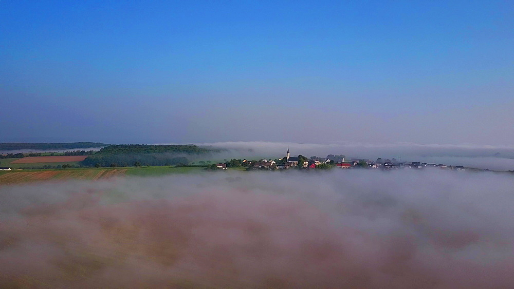 Aerial view of morning fog near Merzkirchen, Saargau, Rhineland-Palatinate, Germany - 396-8775