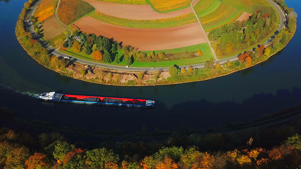 Aerial view of cargo vessel on Moselle River near Palzem, Obermosel, Rhineland-Palatinate, Germany (opposite side of river: Luxembourg) - 396-8813