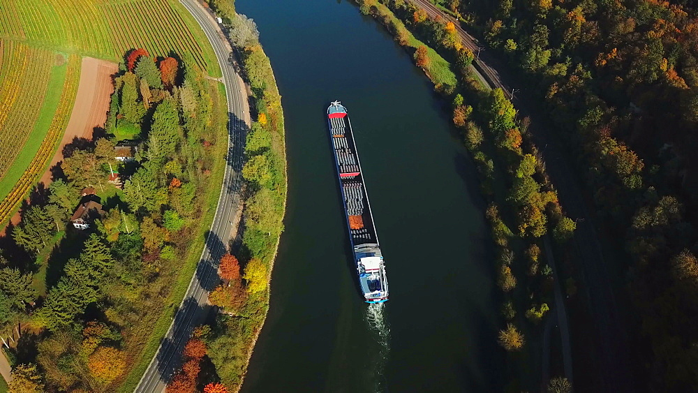 Aerial view of cargo vessel on Moselle River near Palzem, Obermosel, Rhineland-Palatinate, Germany (opposite side of river: Luxembourg) - 396-8815
