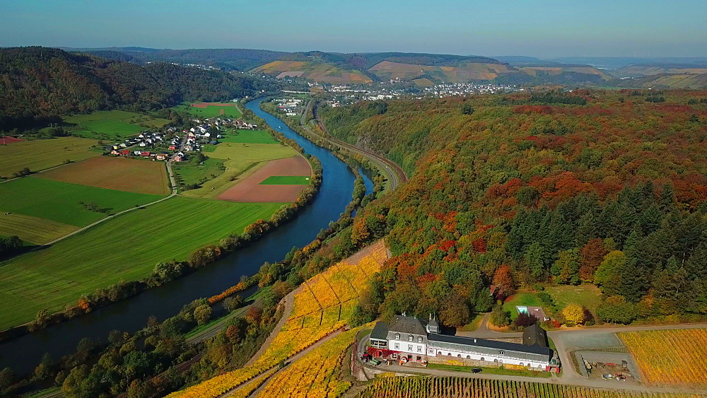 Aerial view of the vineyard estate Saarstein near Serrig, Saar River, Saar Valley near Saarburg, Rhineland-Palatinate, Germany - 396-8822