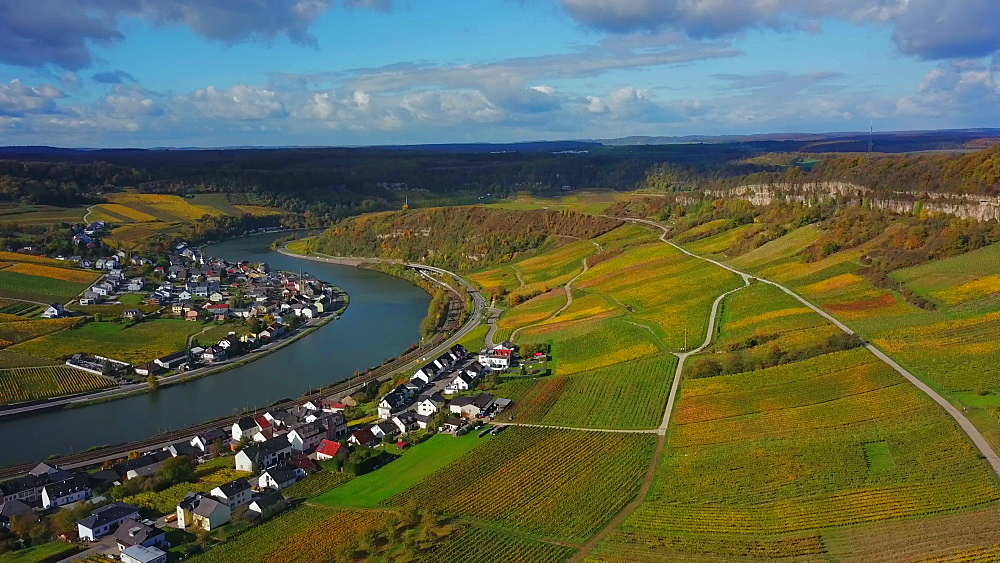 Aerial view of the wine village Nittel, Obermosel, Moselle River, Rhineland-Palatinate, Germany - 396-8874