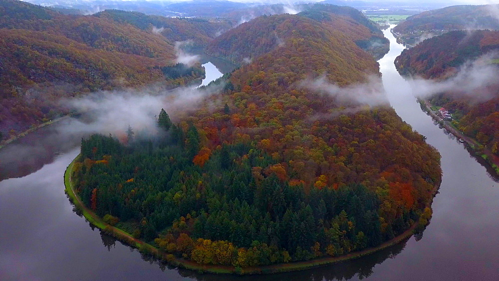 Aerial view of the Big Loop of Saar River near Mettlach, Saaar Valley, Saarland, Germany - 396-8880